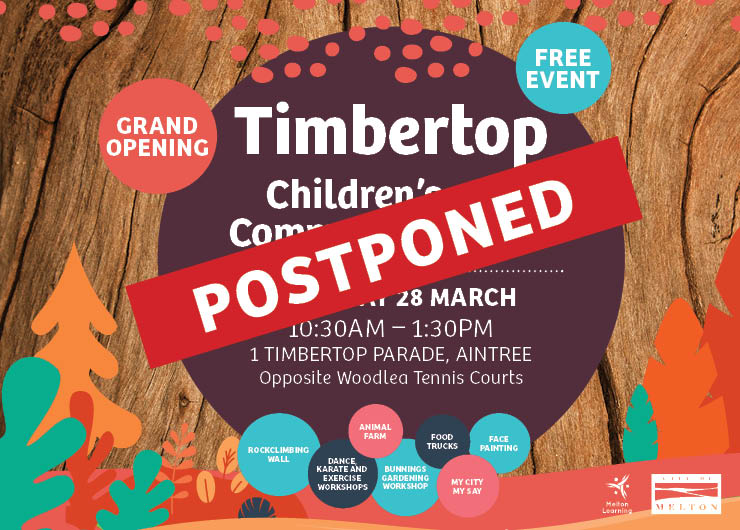 EVENT POSTPONED: Timbertop Children's & Community Centre Grand Opening